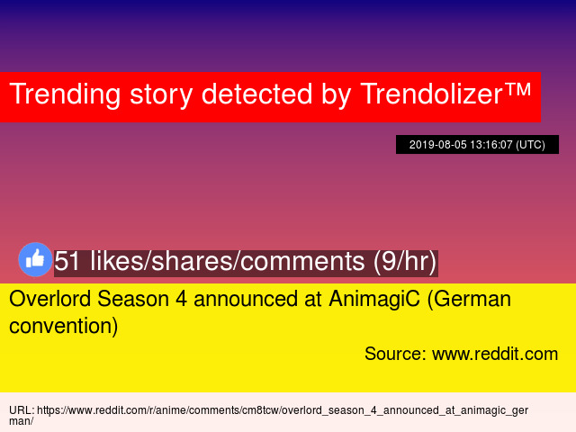 Overlord Season 4 announced at AnimagiC (German convention)